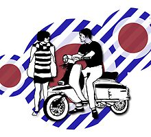 Retro style scooter boy and girl with vintage scooter on by Auslandesign