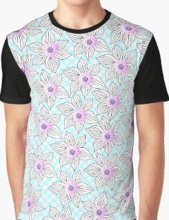 Vintage black pink teal polka dots flowers Graphic T-Shirt