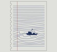 Blue boat in the ocean by Karlim