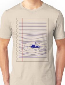Blue boat in the ocean Unisex T-Shirt
