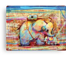 musical rainbow elephants Canvas Print