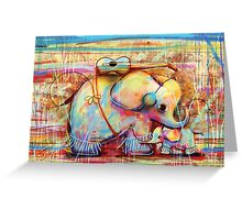 musical rainbow elephants Greeting Card