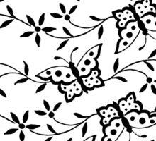 Vintage black white cute butterfly floral pattern. Sticker