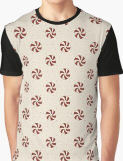 Vintage burgundy beige Christmas candy dots  Graphic T-Shirt