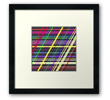 Purple Yellow Green Blue Summer Fun Trippy Crossing Lines Framed Print