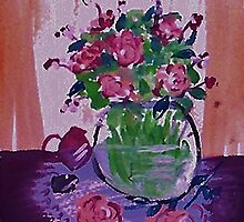Glass vase of flowers by window by Anna  Lewis
