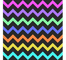 Pink Purple Green Blue Orange Yellow Black Summer Fun Chevron Photographic Print