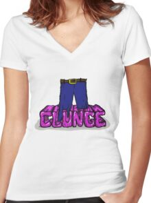 """The Inbetweeners - """"Knee deep in Clunge!"""" Women's Fitted V-Neck T-Shirt"""