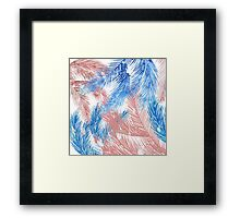 Trendy tropical blue coral watercolor palm leaves  Framed Print