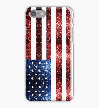 USA flag red & blue sparkles iPhone Case/Skin