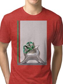 Christmas:  Holiday Stripes and a Reindeer II Tri-blend T-Shirt