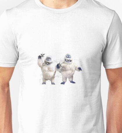 Abominable Snowman couple at christmas on green  Unisex T-Shirt