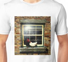 A rooster & hen on a window Ledge Unisex T-Shirt