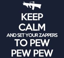 Starkid: Keep calm and set your zappers to pew pew pew (white) T-Shirt