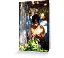 Laos Fisherman Greeting Card