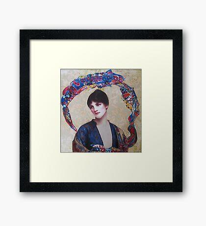 Woman In Blue Framed Print