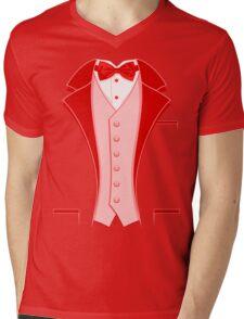 Tuxedo Red Mens V-Neck T-Shirt