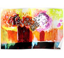 Still life with Flowers in two vases Poster