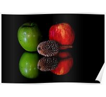 fruits on black background Poster