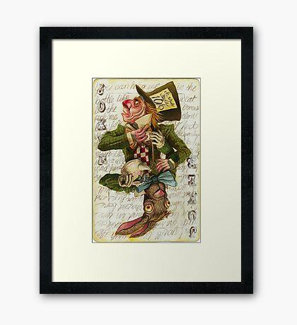 Mad Hatter Joker Card Framed Print