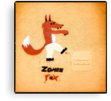 Zombie Fox Stencil Graffiti. Canvas Print