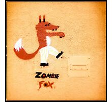 Zombie Fox Stencil Graffiti. Photographic Print