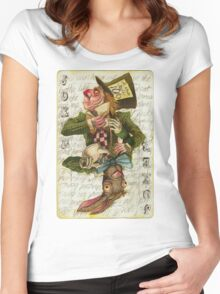 Mad Hatter Joker Card Women's Fitted Scoop T-Shirt