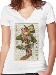 Mad Hatter Joker Card Women's Fitted V-Neck T-Shirt