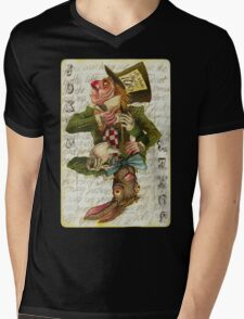 Mad Hatter Joker Card Mens V-Neck T-Shirt