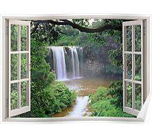 Open window view to waterfall Poster