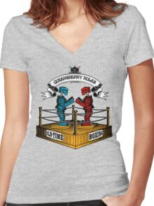 Old-Time Boxing Women's Fitted V-Neck T-Shirt