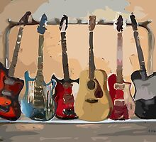 Rack of Guitars by arline wagner