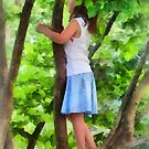 Little Girl Playing in Tree by Susan Savad