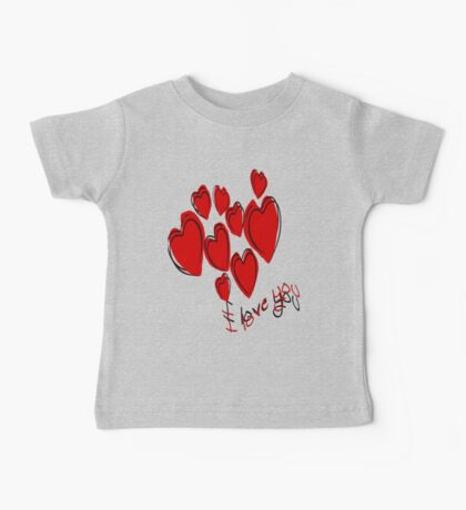 I Love You Greetings With Hearts Baby Tee