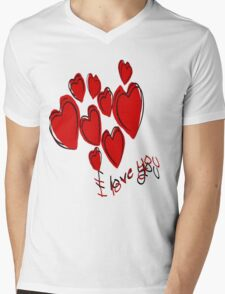 I Love You Greetings With Hearts Mens V-Neck T-Shirt