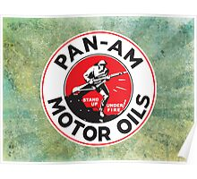 Retro Pan-Am Motor Oils Sign Reproduction Poster