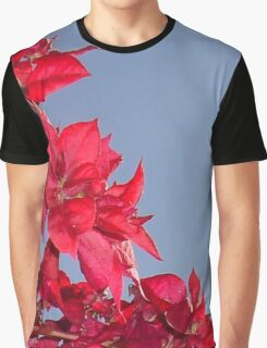 Pink Red Blooming Bougainvilleas Against A Blue Sky Graphic T-Shirt