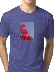 Pink Red Blooming Bougainvilleas Against A Blue Sky Tri-blend T-Shirt
