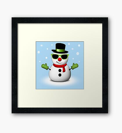 Cool Snowman with Shades and Adorable Smirk Framed Print