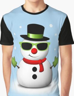 Cool Snowman with Shades and Adorable Smirk Graphic T-Shirt