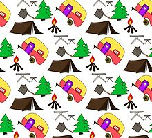 Camping hand drawn pattern vector illustration by elenm