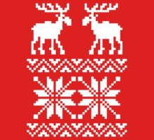 Moose Pattern Christmas Sweater Kids Tee