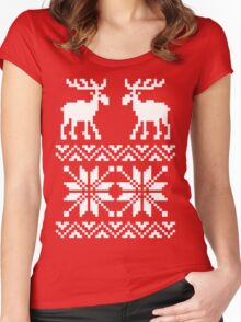 Moose Pattern Christmas Sweater Women's Fitted Scoop T-Shirt