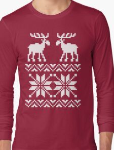 Moose Pattern Christmas Sweater Long Sleeve T-Shirt