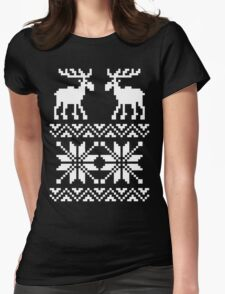 Moose Pattern Christmas Sweater Womens Fitted T-Shirt