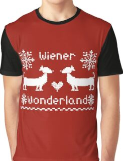 Wiener Wonderland in Festive Red - Dachshund Sausage Dog Graphic T-Shirt