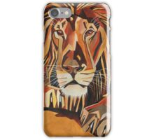 Relaxed Lion Portrait in Cubist Style iPhone Case/Skin