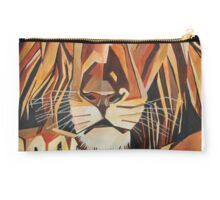 Relaxed Lion Portrait in Cubist Style Studio Pouch