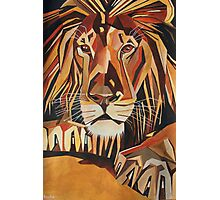 Relaxed Lion Portrait in Cubist Style Photographic Print