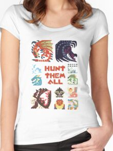 MONSTER HUNTER 4 - HUNT THEM ALL Women's Fitted Scoop T-Shirt